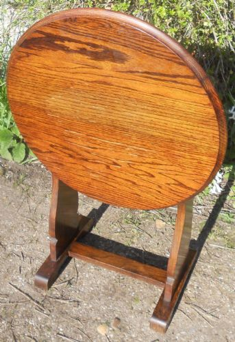 Round Oak Folding Occasional Table